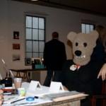 Bear sitting for a portrait.