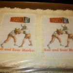 Our amazing Bull and Bear sheet cake.