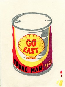 "Go East, Young Man. Tate Foley.  6-color screenprint on Rives BFK. Edition of 10 22"" x 18"" 2011"